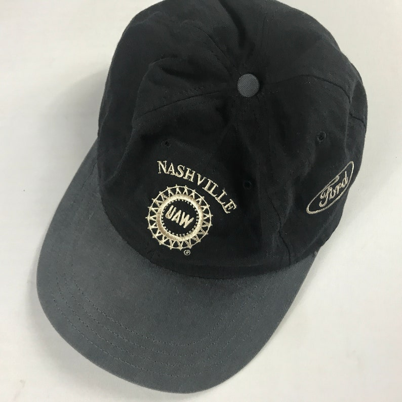 Nashville Strapback Hat UAW Ford EI Cap ESSP Black Gray Adult image 0