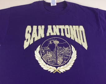 San Antonio T-Shirt Adult Large Purple Texas 3D Foam Letters USA Made City Jerzees