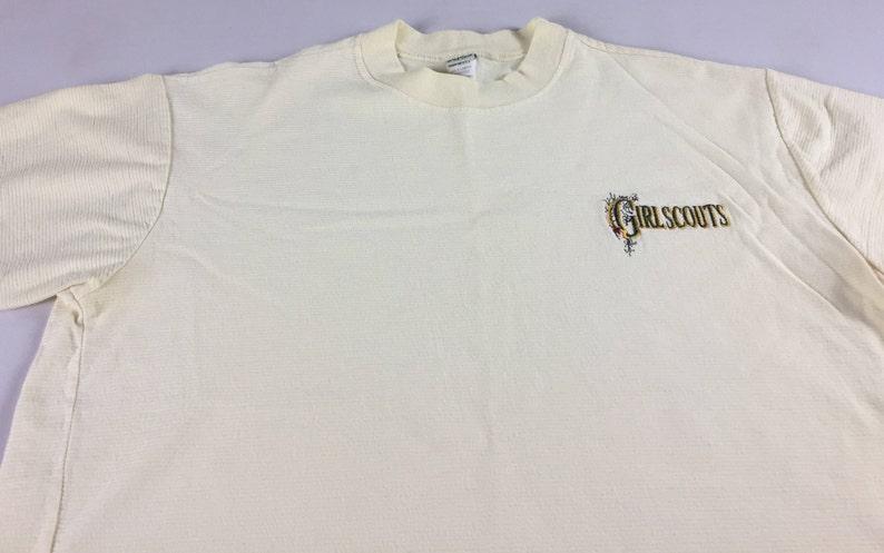 Girl Scouts Shirt Womens SZ M/L Yellow USA Made Cotton Lightly image 0