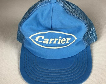 Carrier Snapback Hat Cap 3D Puff Print Foam Trucker USA Made Mens Blue White Adult One Size