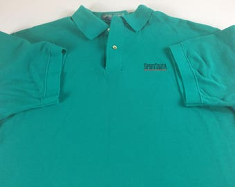 SportSouth Polo Shirt Mens L/XL Green TV Cotton USA Made American Southern Pine Island Golf Casual