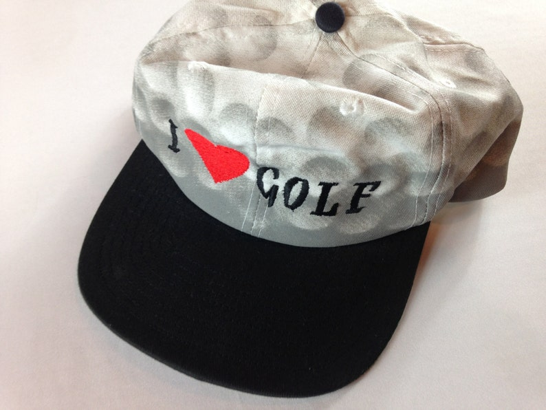 I Love Golf Snapback Hat Heart Cap 80s 90s San Sun One Size image 0