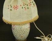 Antique Rare Japanese Vase Lamp,Handpainted Japanese Vase Lamp,Porcelain Vase Mounted as Lamp,Handembroidered Lampshade,Wedding Gift
