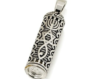 Sterling Silver MEZUZAH Necklace with Scroll Shema Israel Kabbalah Pendant CHAI