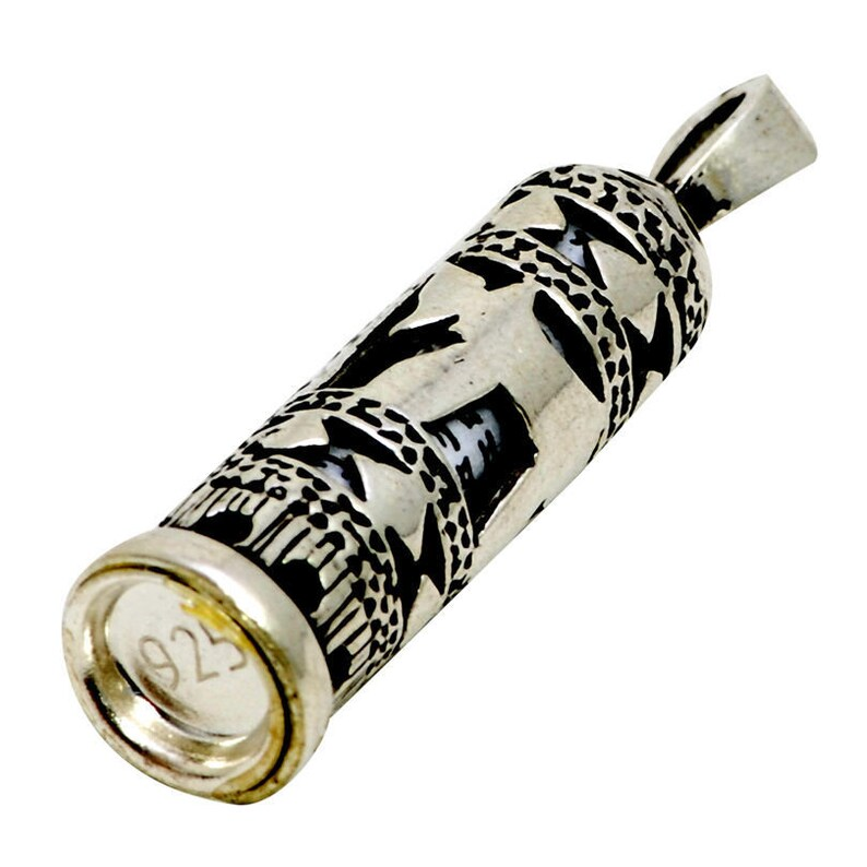 Silver 925 CHAI / LIFE Mezuzah With Shema Israel Scroll And image 0