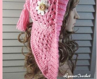 Bright Pink Granny Square Hoodie/Hat . .