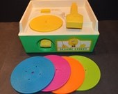 1985 Fisher Price Sesame Street Music Box Record Player with 4 Records