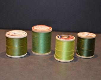 Coats and Clark's Wood Spools with Green Thread-Set B