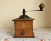 Vintage coffee grinder, a French country coffee mill or pepper mill from 1940s in good working order