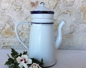 Vintage enamel coffee pot, a small blue and white French coffee pot
