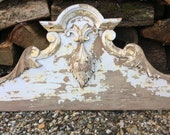 Shabby chic wood pediment, large vintage French carved wooden decor
