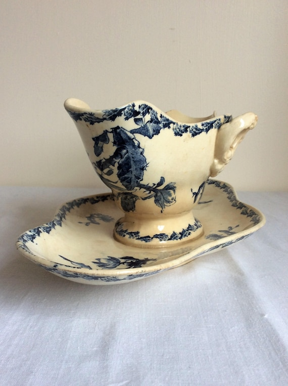 A Beautiful Antique French White Ironstone Sauce Boat  Gravy Boat With Attached Saucer  ~ 19th Century