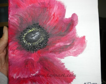 """Red poppy oil painting, an original contemporary flower wall art 8"""" square"""