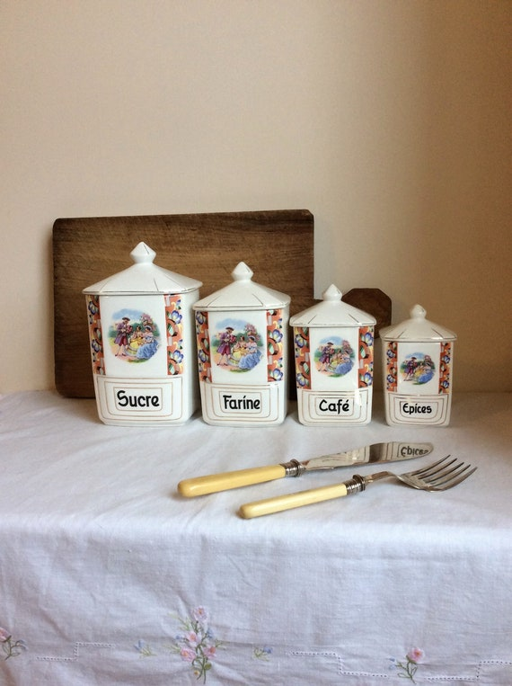 French kitchen canisters, set of 4 colourful vintage country kitchen  containers for your retro home decor