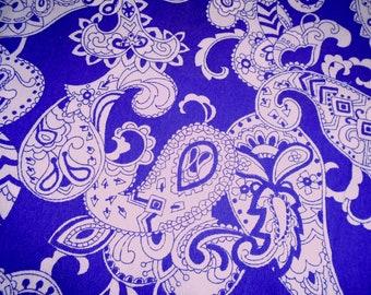 Vintage Cotton Barkcloth Fabric, Purple Paisley, Priced by the Half Yard