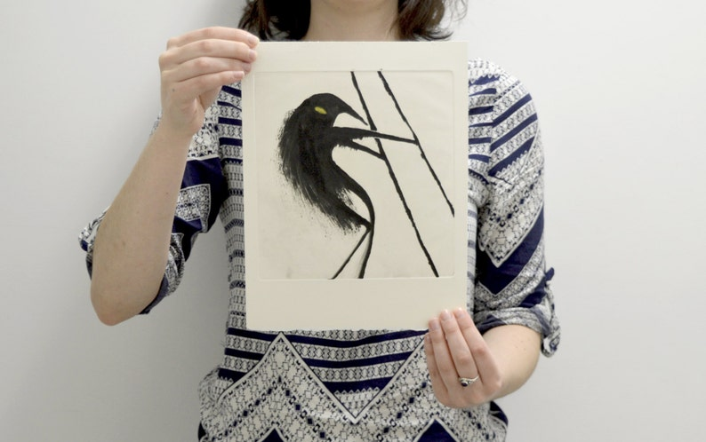 MONOPRINT  ETCHING  INTAGLIO  Collection Waders creatures  Anteater by CFTurcas