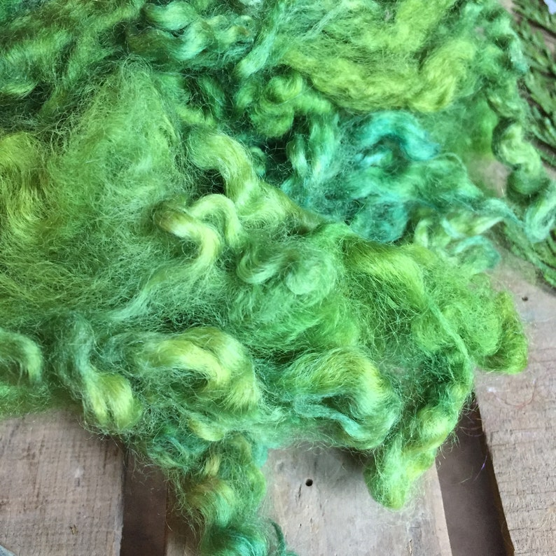 Crafting Supply 2 ounces Art Yarn Fiber Doll Hair EVERGREEN Wool Fleece Dorset Wool Locks Needle Felting Earthy Green