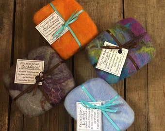 Felted Soap Bar, Our handmade soap wrapped with hand dyed felted wool, Lavender, Sandalwood, Patchouli & Unscented, All Natural Goodness