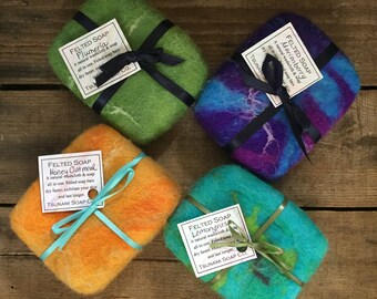 Felted Soap Bar, Lemongrass, Marionberry, Plumeria & Unscented, Our handmade soap wrapped with hand dyed felted wool, All Natural Goodness