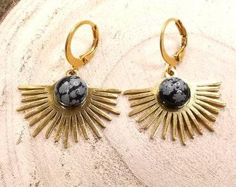 BO Maeva  stainless steel medallion sun semi precious stone