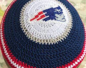 dc4bd319ba5 New England Patriots inspired kippah yarmulke groomsmen any team Jewish  custom hand crocheted with cross stitch logo daddy baby set jewish g