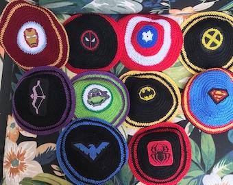 Superhero inspired kippah yarmulke. Tell me ANY superhero or character you would like. Hand crocheted with cross stitched logo sewn on