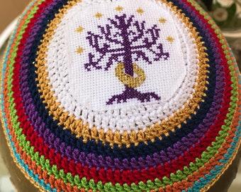 Tree of Gondor purple Lord of the Rings inspired kippah yarmulke