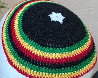Rasta colors kippah yarmulke or YOUR colors, theme and size
