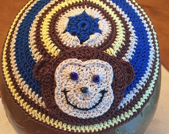 Baby kippah monkey any colors or animal Jewish kipa yarmulke adult child baby naming bris father son add ribbons personalize or YOUR design