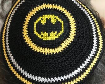 Batman kippah yarmulke The Flash Captain America Wonder Woman or any superhero or character hand crocheted and cross stitched.