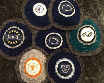 Kippah of any sports team or college yarmulke hand crocheted and sewn on cross stitch logo