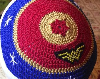 Jewish Wonder Woman kippah yarmulke supernatural or any theme crochet kippah with cross stitch logo sewn on