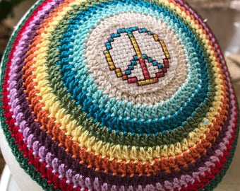 Peace sign kippah yarmulke or YOUR own theme and colors