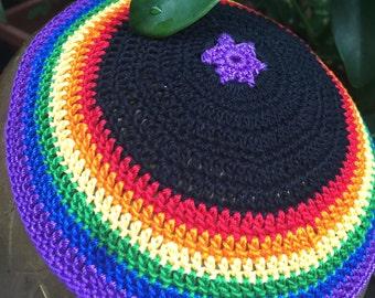 Lgbtq kippah yarmulke rainbow Jewish gay pride or any pride colors and/or flag represented.