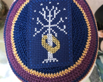 White tree of Gondor Lord of the Rings inspired kippah yarmulka or any book movie tv character any theme size color