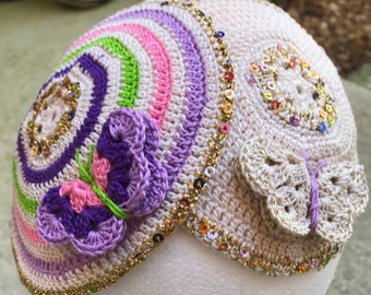 Girls kippah YOUR colors butterfly or any theme