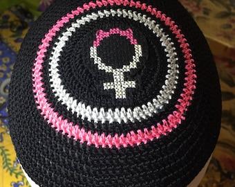 Pink cat feminist lgbtq Jewish kippah yarmulke or YOUR custom colors and design