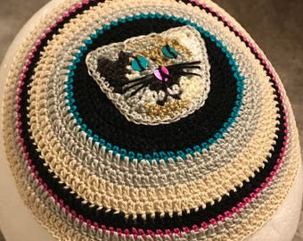 Cat kippah yarmulke or YOUR favorite animal theme and colors hand crocheted of 100% cotton thread