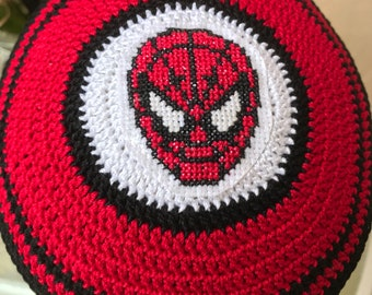 Spiderman kippah yarmulke hand crocheted of 100 % cotton thread with cross stitched spiderman or any colors and theme