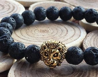 Mens Lion Bracelet, Father's Day Gift, Leo Lion Jewelry, Dad Gift, Black Lava Gemstone, Lion Gold Bracelet Lionhead Bracelet Protection Lion