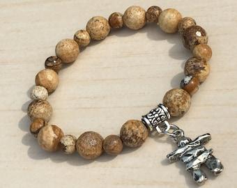 Inukshuk 8mm Bracelet, Brother's Gift, Canadian Landmarks Inuit, Jasper Leopard, Men Woman Inukshuk Quebec,Gift Bracelet for Mom Inukshuk