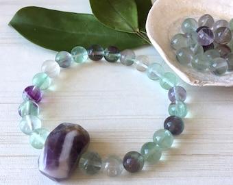 Rainbow Fluorite Zen, Mother Sister Gift, Nugget Amethyst, Gemstone Purple Bracelet, Healing Bracelet Zen Mom Birthday Gift Intellectual Gem