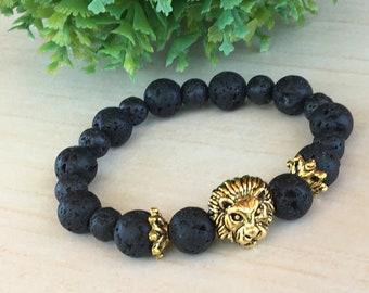 Gift for Dad, Dragon Vein Lava Gem, Lionhead Bracelet, Lion King Bracelet, Leo Lion Bracelet, Lava Lion Gift Leo, Rooting Gemstones Gift Zen