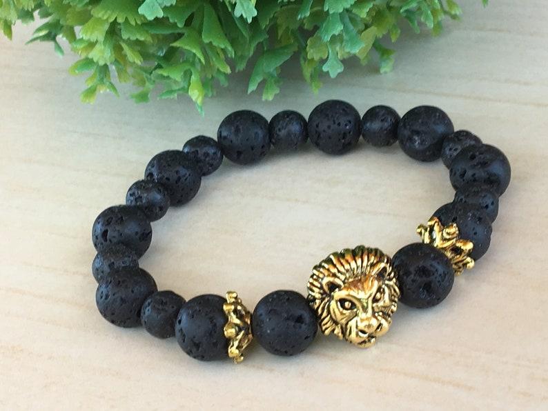 Gift for Dad Dragon Vein Lava Gem Lionhead Bracelet Lion image 1