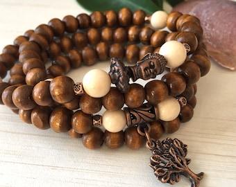 Family Bracelet, Wood Brown Bracelet, Tibetan Zen Mala 108, Mala Bead Wood 108, Mala Tree of Life, Wood Mala Necklace, Yoga Bracelet Gift