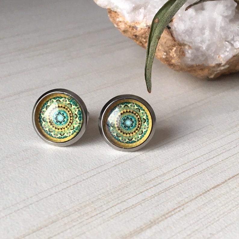 Mandala Posts Zen Small Stud Art Mandala Earrings Zen image 0