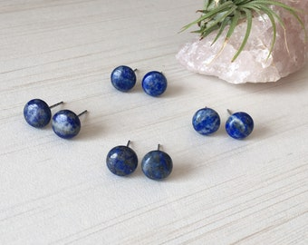 Blue Lapis Lazuli, Half Moon Cabochon, Gemstone Stud 12mm, Earring Cabochon Circle, Round Stud Earring, Gemstone Blue Stud,Lapis Lazuli Boho