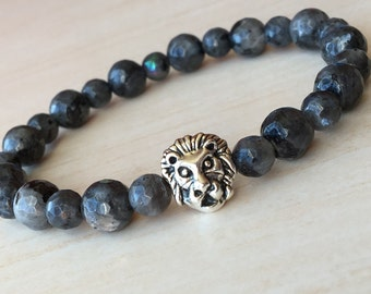 Men Dad Gift, Labradorite Lion, Gray Leo Bracelet, Lion King Bracelet, Gift for Young Dad, Lionhead Jewelry, Protection Bracelet