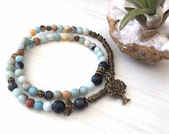 Teacher's Gift, Amazonite Rosary, 108 Mala Bracelet, Friendship Bracelet, Small Angel Mala, Jewelry Amazonite 54, Meditation Spiritual 54