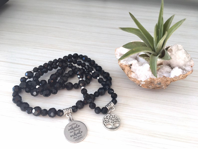 Inhale the Future Exhale the Past Black Crystal Mala Family image 0
